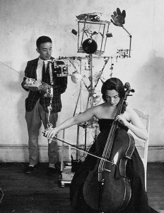 Nam June Paik and Charlotte Moorman with Robot K-456, 1964.